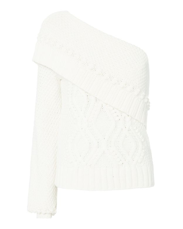 Exclusive for Intermix Dahlia One Shoulder Ivory Sweater