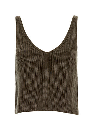 Exclusive for Intermix Crop Knit Cami: Olive