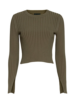 Exclusive for Intermix Ribbed Crewneck: Olive