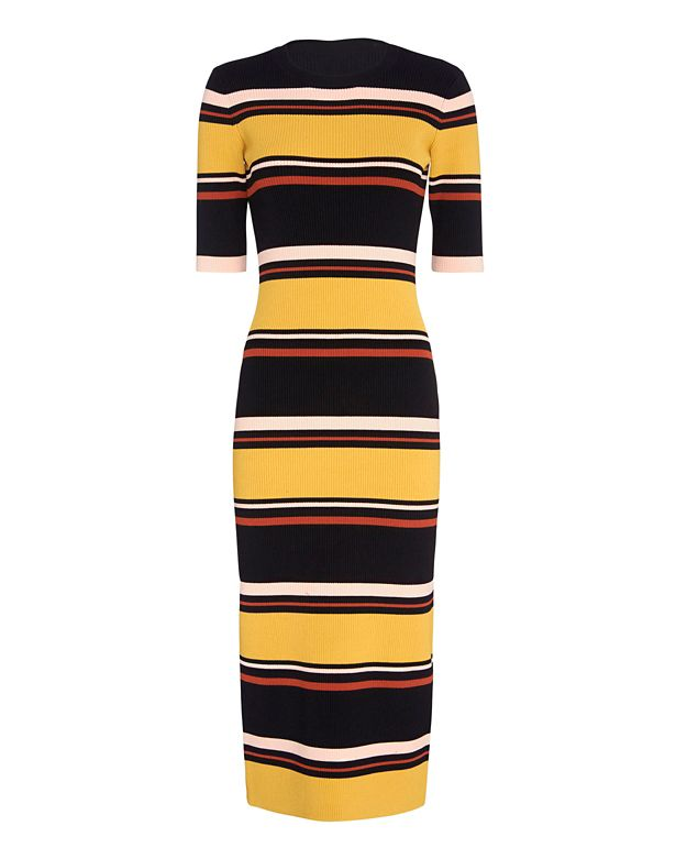 Exclusive for Intermix Wyatt Striped Mid-Length Ribbed Knit Dress