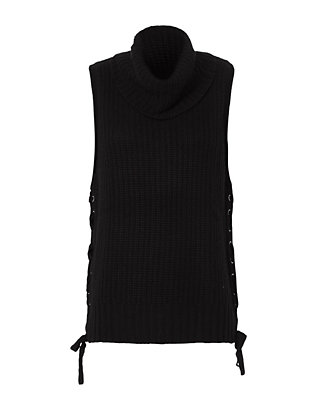 Autumn Cashmere Lace-Up Gilet: Black