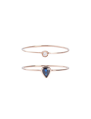 19Fifth Diamond/Teardrop Blue Sapphire Ring Set