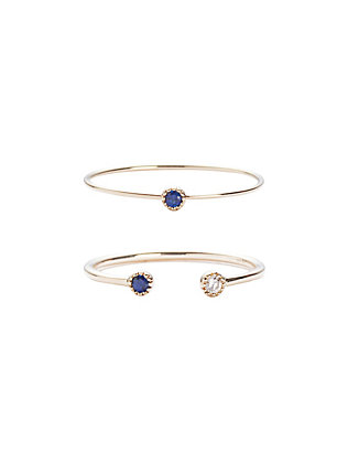 19Fifth Sapphire/Diamond Double Ring Set