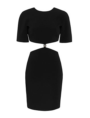 Mugler Cut Out Waistline Short Sleeve Dress: Black