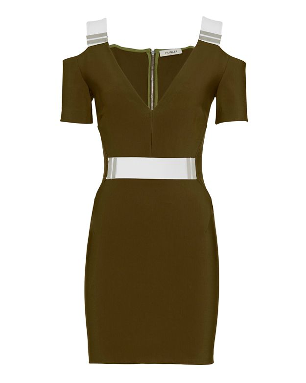 Mugler Contrast Strap V Neck Dress: Khaki