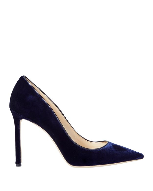 Jimmy Choo Romy Navy Velvet Pumps