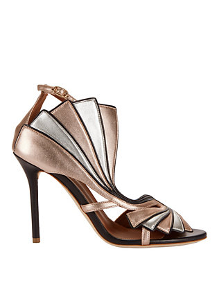 Malone Souliers Rosie Fanned Metallic Sandals
