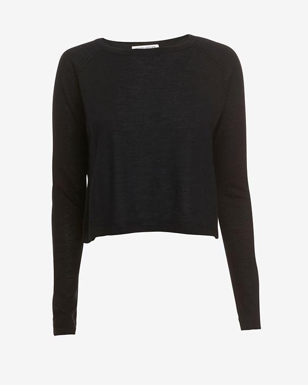 exclusive       autumn-cashmere-exclusive-boxy-crop-cashmere-sweater:-black by autumn-cashmere