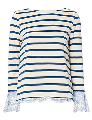 Sea Eyelet Cuff Stripe Top