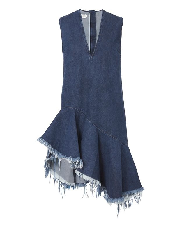 Marques' Almeida Denim Sleeveless V-Neck Dress