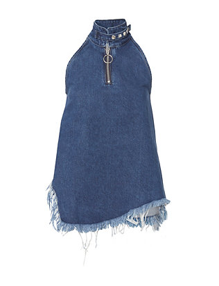 Marques' Almeida Denim Halterneck Zip Top