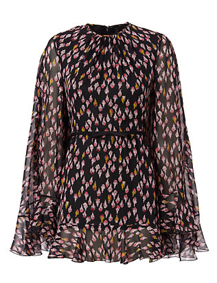 Giambattista Valli Cape Georgette Print Dress