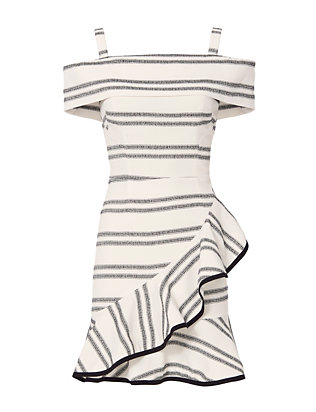 Rebecca Vallance Cut Out Back Striped Ruffle Dress