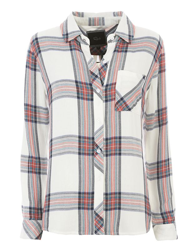 Rails Hunter Plaid Shirt: White/Navy/Coral