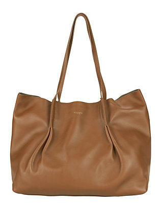Ondine Leather Pleated Tote: Brown