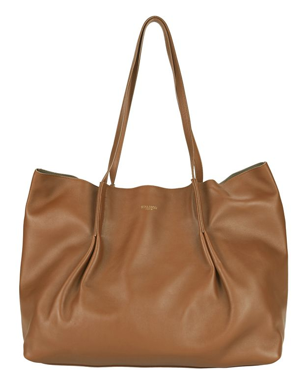 Nina Ricci Ondine Leather Pleated Tote: Brown