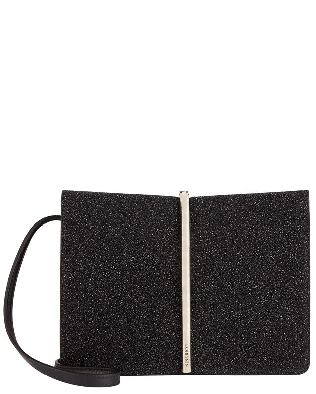 Nina Ricci Arc Detail Leather Clutch: Black