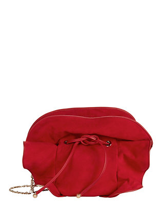 Lily Ruched Ruffle Suede Shoulder Bag