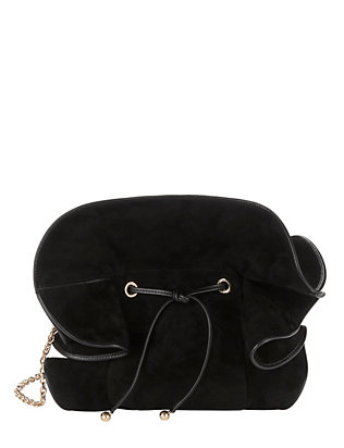 Lily Ruched Ruffle Black Suede Shoulder Bag