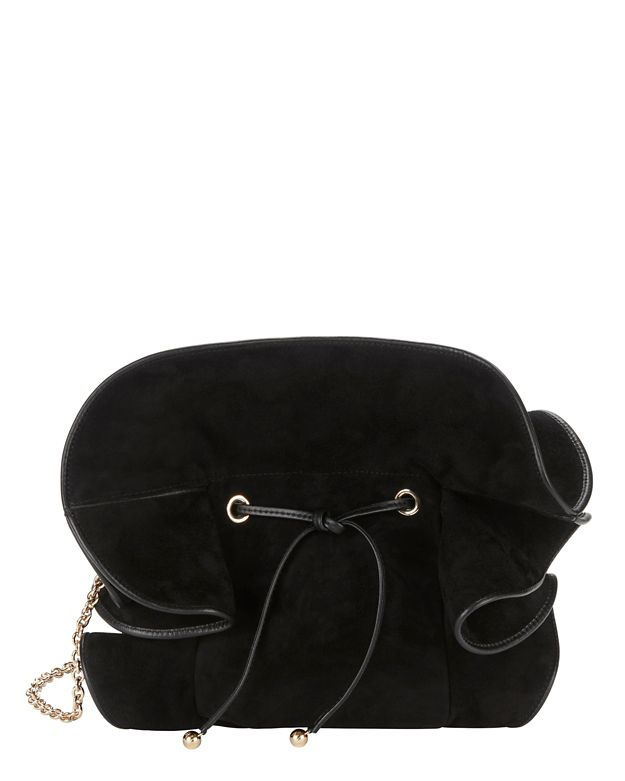 Nina Ricci Lily Ruched Ruffle Black Suede Shoulder Bag