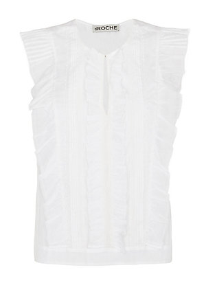 St. Roche EXCLUSIVE Ruffle Front Sleeveless Top: White