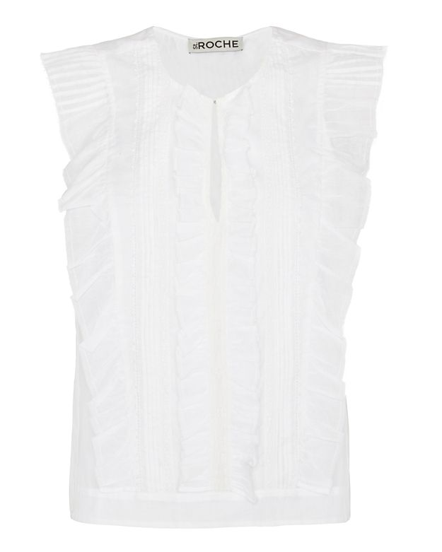 St. Roche Ruffle Front Sleeveless Top: White