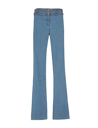 Veronica Beard Braided High Waistline Flare Denim