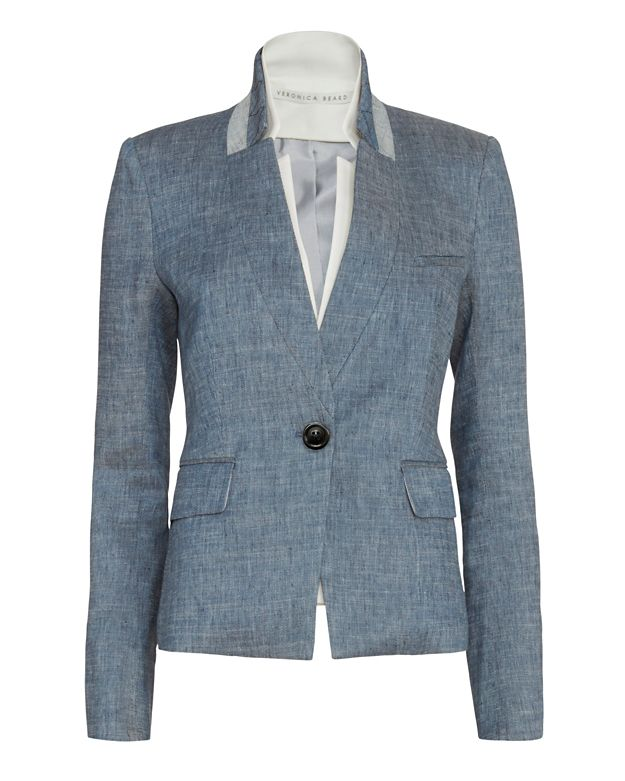 Veronica Beard EXCLUSIVE Chambray Schoolboy Up Collar Blazer