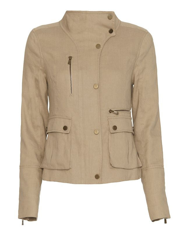 Veronica Beard Funnel Neck Linen Peplum Jacket