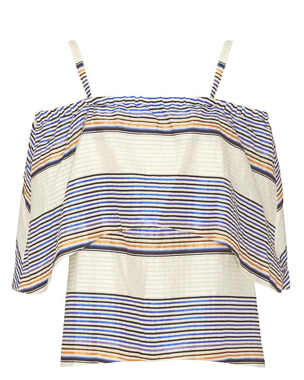 Tanya Taylor Ione Striped Off The Shoulder Blouse