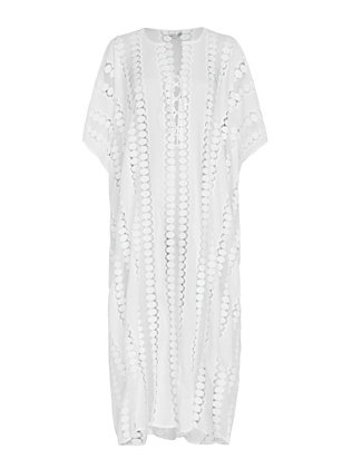 Miguelina Blair Lace-Up Caftan: White