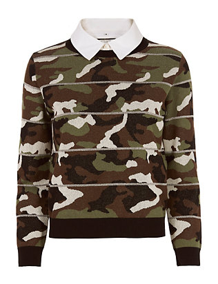 Veronica Beard Alpha Camo Jacquard Sweater