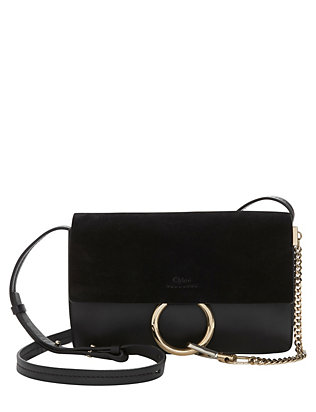 Chloe Faye Suede/Leather Crossbody: Black