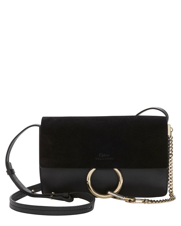 Chloé Faye Suede/Leather Black Crossbody