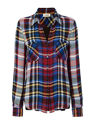 L'Agence Sheer Back Plaid Blouse