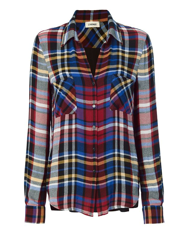 L'Agence EXCLUSIVE Sheer Back Plaid Blouse