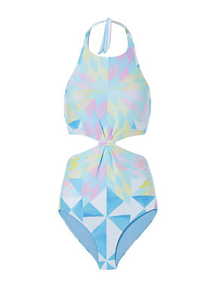 Mara Hoffman Geometric Print Cut Out Swimsuit