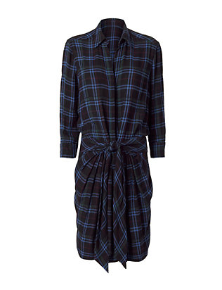 Tie Waist Plaid Dress