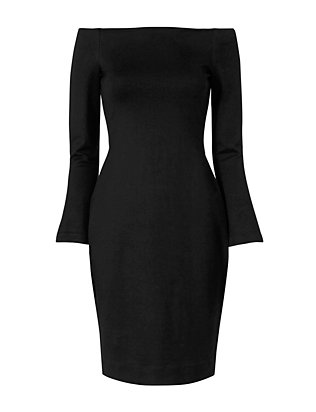 L'Agence Off-The-Shoulder Black Dress