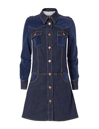 Denim Velvet Shirt Dress