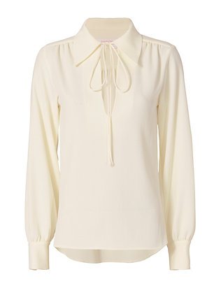 Tie Collared Blouse: Ivory