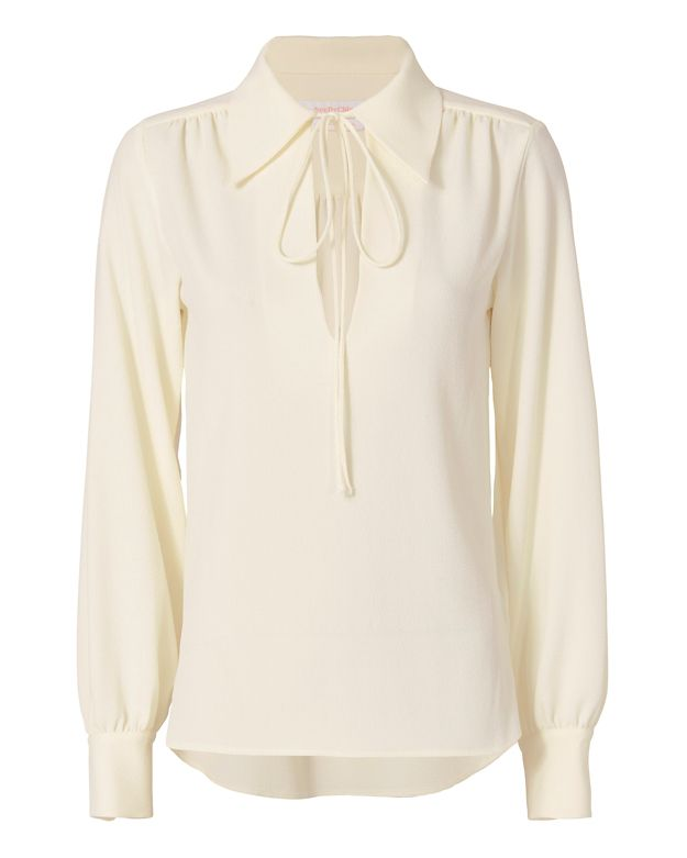 See By Chloe Tie Collared Blouse: Ivory