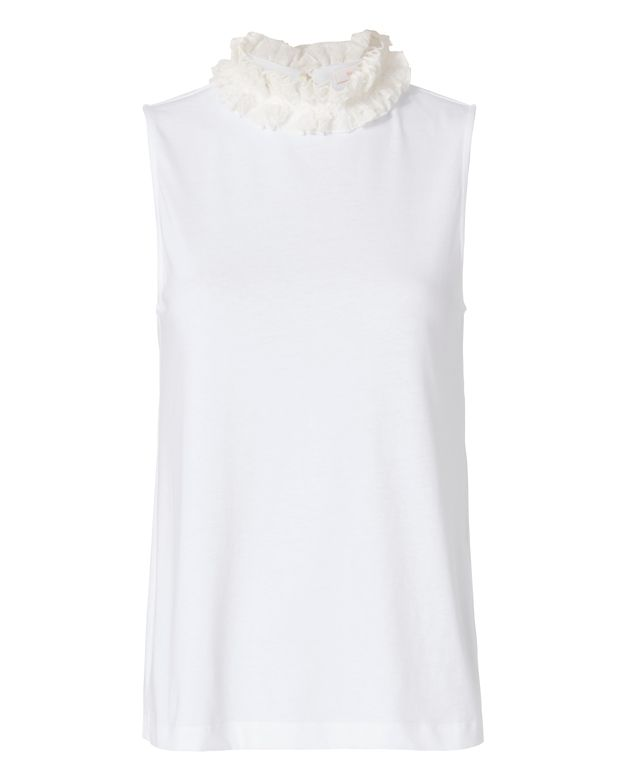 See By Chloe Ruffle Neck Tank: White