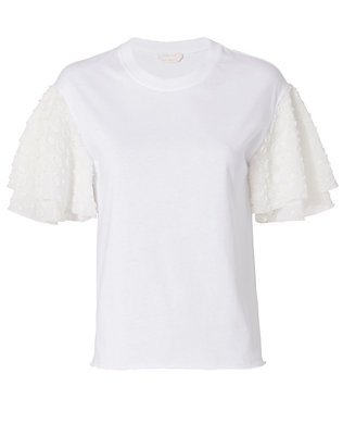 See By Chloé Embroidered Sleeve White Tee