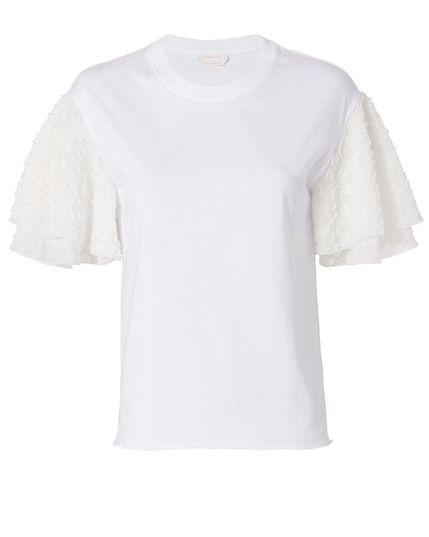 See By Chloe Embroidered Sleeve Tee: White