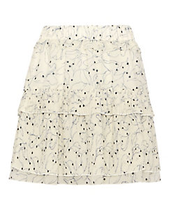 See By Chloe Ruffled Pleat Print Skirt