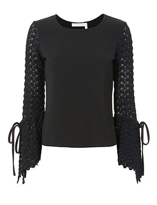 Flared Knit Sleeve Top