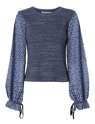 See By Chloé Crochet Sleeve Knit Tee
