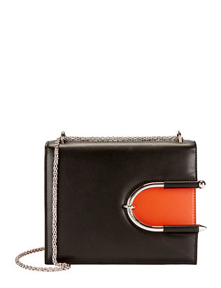 Colorblocked Horseshoe Detail Leather Shoulder Bag