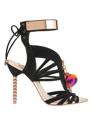 Yasmina Pom Ankle Cuff Suede Sandals: Black